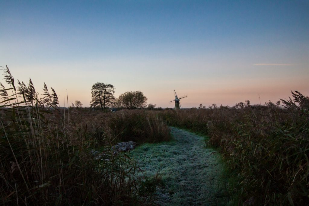 broads winter sunrise landscape