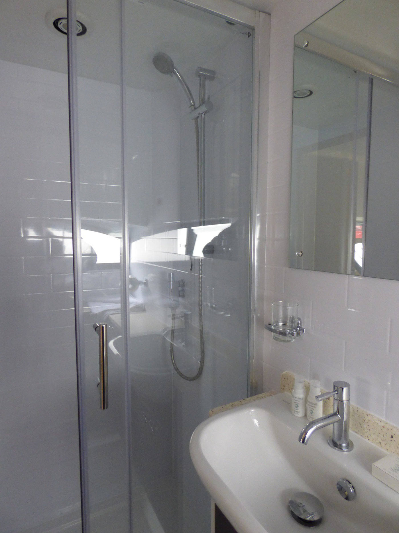 Shower on board Norfolk Broads Holiday Cruiser