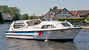A modern cruiser for hire on the Norfolk Broads