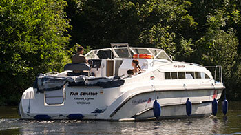 A boat for hire on the Norfolk Broads